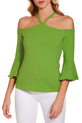 So Sexy™ halter cold shoulder ruffle sleeve top