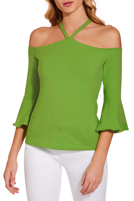 So Sexy™ halter cold shoulder ruffle sleeve top image