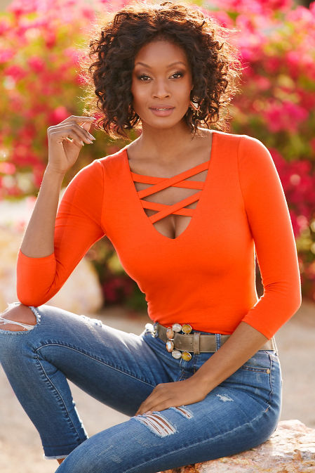 So Sexy™ neck detail three quarter sleeve top image
