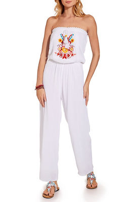 Strapless beaded embroidered jumpsuit
