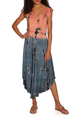 0362219f248252 Tie dyed v neck dress