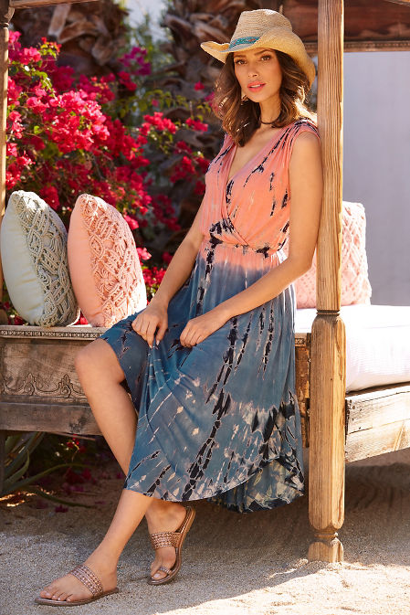 Tie dyed v neck dress image