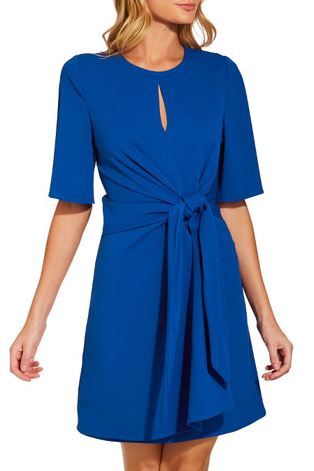 Tie front crepe dress image