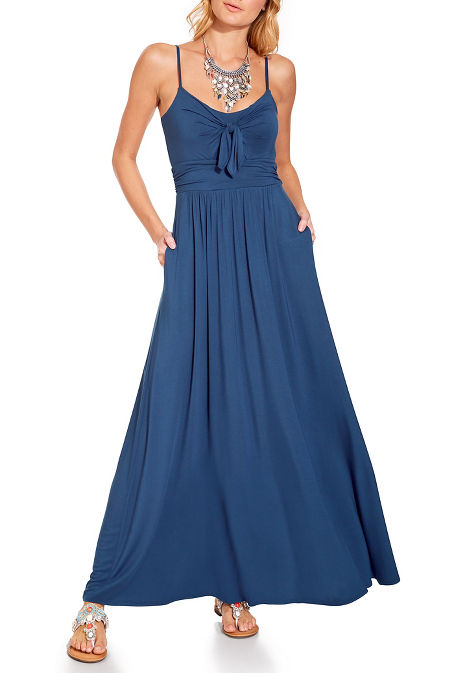 Tie front maxi dress image