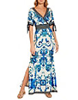 Tie Sleeve Scroll Maxi Dress Photo