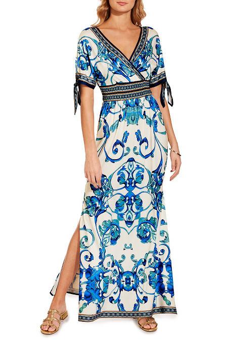 Tie sleeve scroll maxi dress image