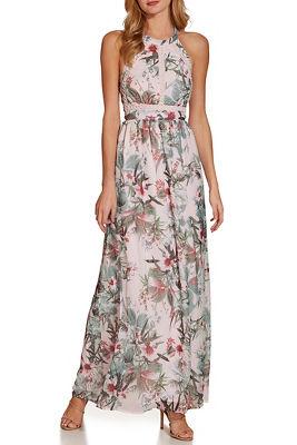 Tropical floral high neck maxi dress