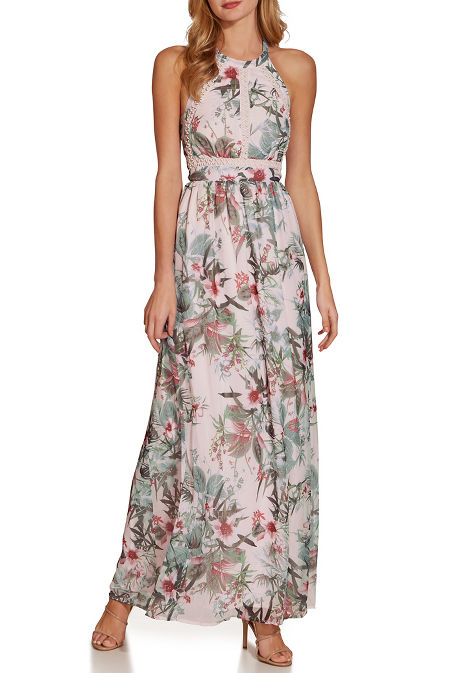 Tropical floral high neck maxi dress image