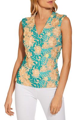 V neck multi lace top
