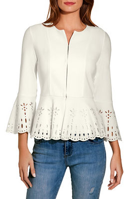 Beyond travel™ eyelet ruffle jacket