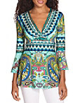 Border Print Flare Sleeve Twist Top Photo