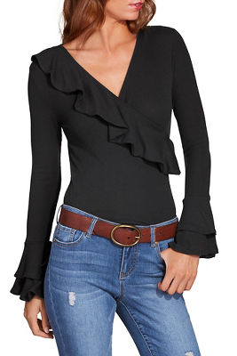 Display product reviews for Ribbed ruffle surplice top