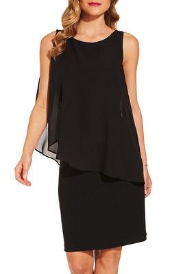 beyond travel™ chiffon overlay dress