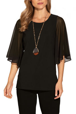 beyond travel™ chiffon sleeve top