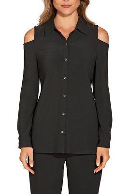 Beyond travel™ cold shoulder button down shirt