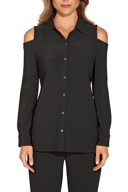 Beyond travel™ cold shoulder button down shirt image