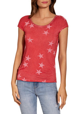 Star print drape back tee