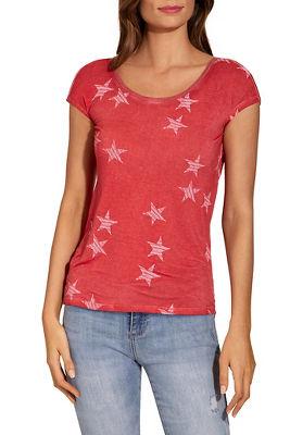 Star print drape back tee