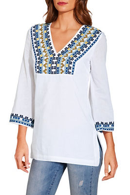 embroidered trim v neck tunic top