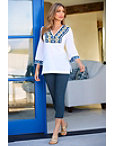 Embroidered Trim V Neck Tunic Top Photo