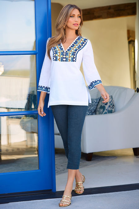 Embroidered trim v neck tunic top image