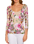 Floral Three-quarter Sleeve Sweater Photo
