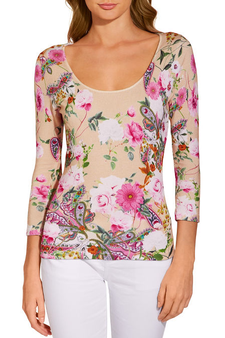 Floral three-quarter sleeve sweater image