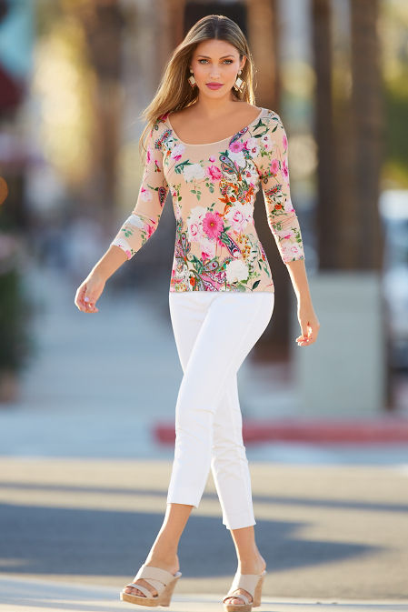 Floral three-quarter sleeve sweater image