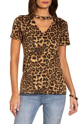 Leopard print keyhole tee