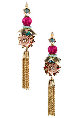 3d flower tassel earrings