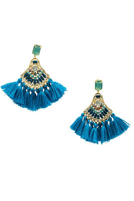 blue shades tassel earrings