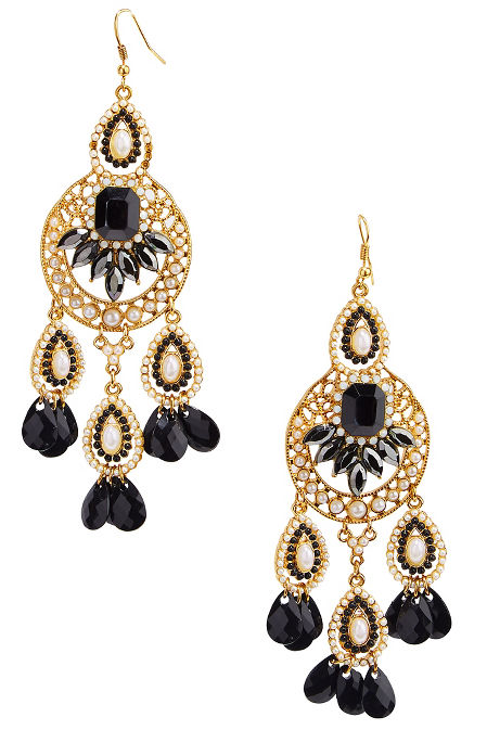 Pearl stone beaded earrings image