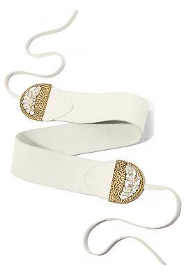 Stone leather tie belt