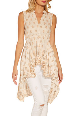 Embellished hi lo sleeveless top