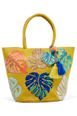 Palm leaves jute tote