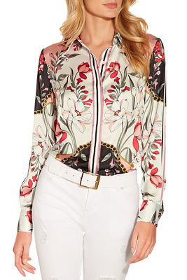 Display product reviews for Printed button down blouse