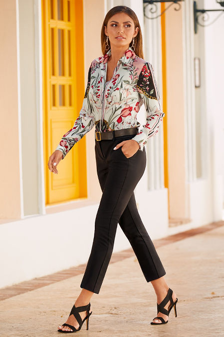 Printed button down blouse image