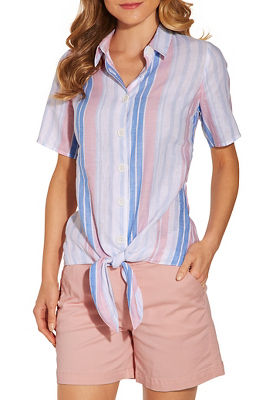 Stripe linen tie front shirt