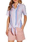 Stripe Linen Tie Front Shirt Photo