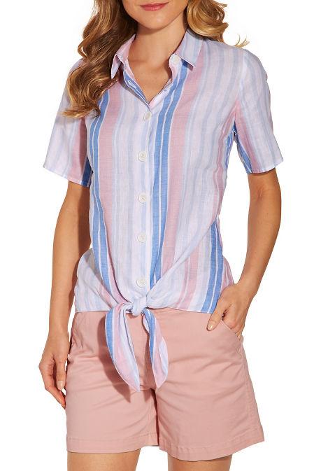 Stripe linen tie front shirt image