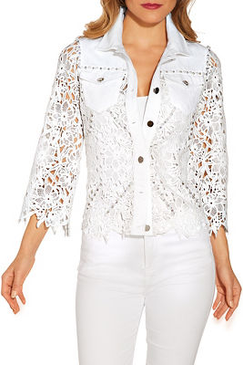 Display product reviews for Lace embellished denim jacket