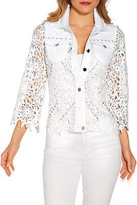 Lace embellished denim jacket