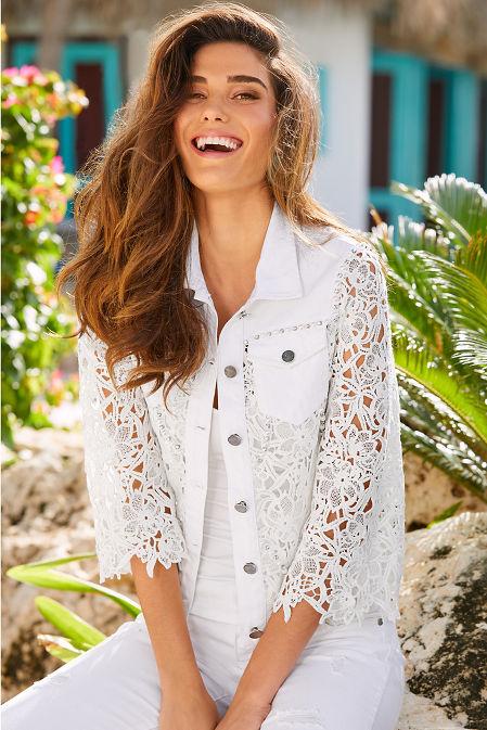 Lace embellished denim jacket image