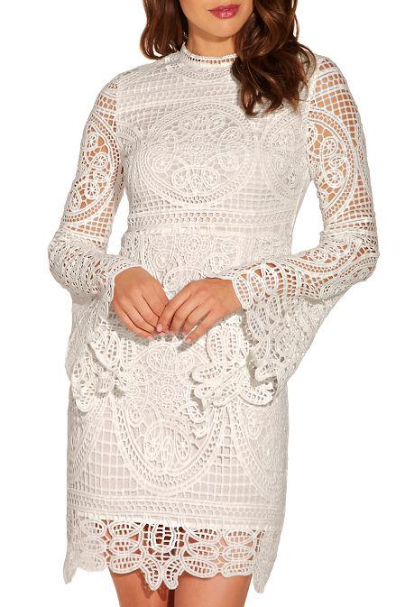 Long sleeve lace sheath dress image