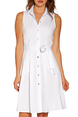 Poplin sleeveless shirtdress