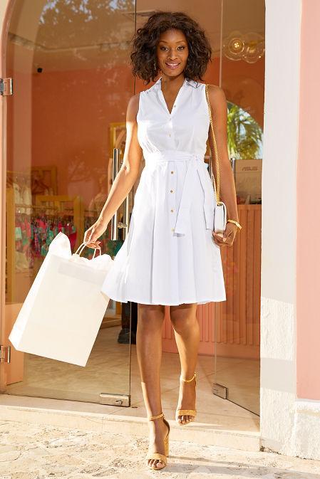 Poplin sleeveless shirtdress image