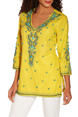 Turquoise baubles tunic top