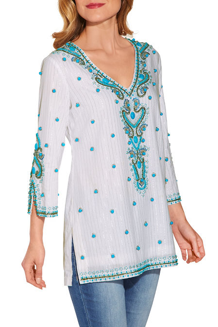 Turquoise baubles tunic top image