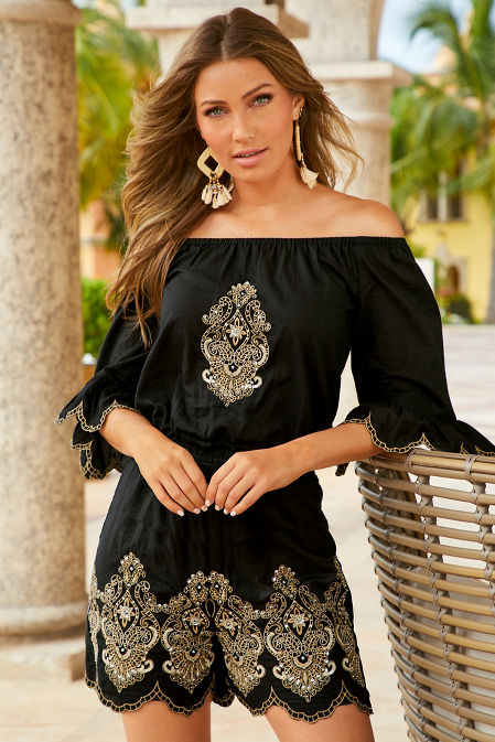 Bead embroidered off the shoulder top image