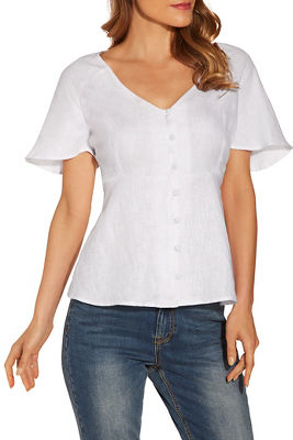 Covered button linen top